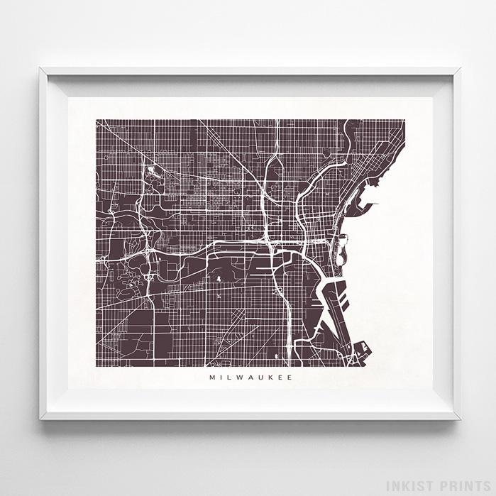 Milwaukee, Wisconsin Street Map Horizontal Print-Poster-Wall_Art-Home_Decor-Inkist_Prints