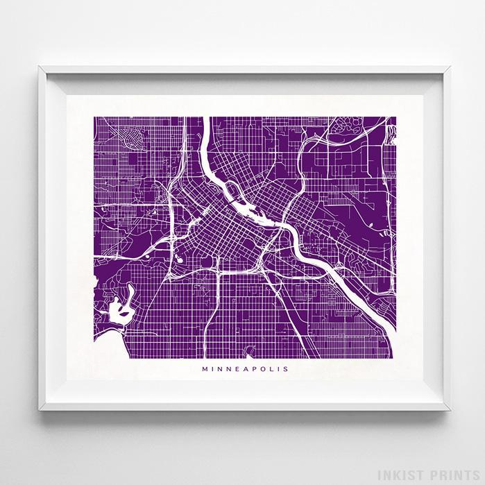 Minneapolis, Minnesota Street Map Print - Inkist Prints