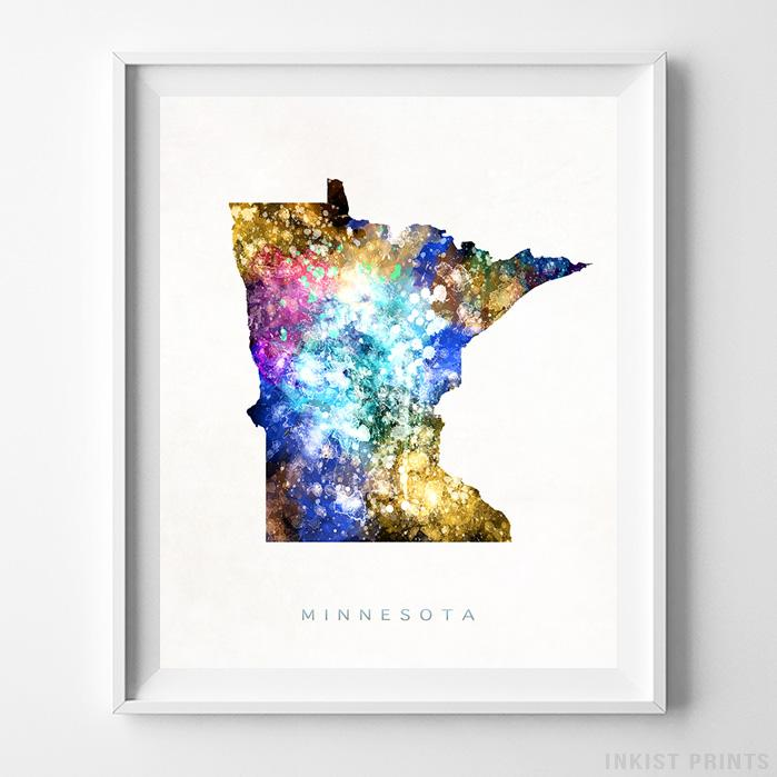 Minnesota Watercolor Map Print-Poster-Wall_Art-Home_Decor-Inkist_Prints