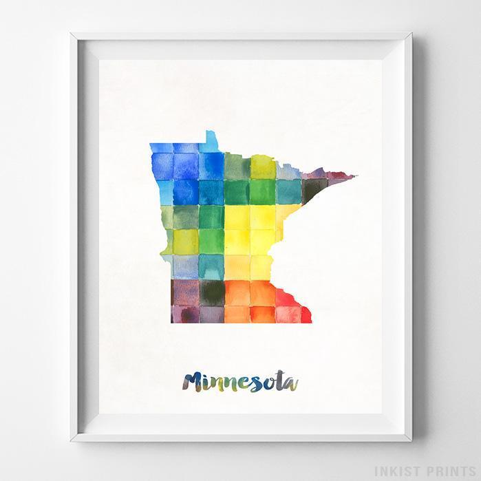Minnesota Watercolor Map Print - Inkist Prints