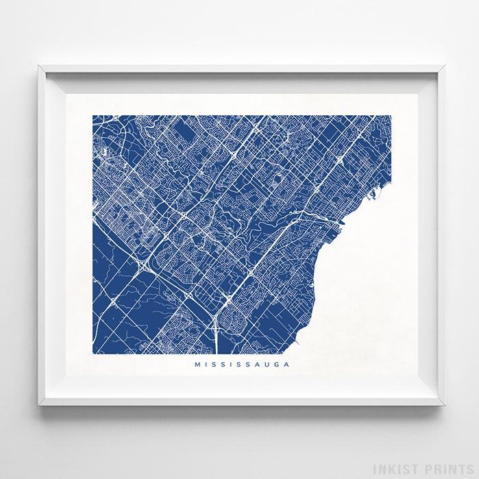 Mississauga, Canada Street Map Horizontal Print-Poster-Wall_Art-Home_Decor-Inkist_Prints