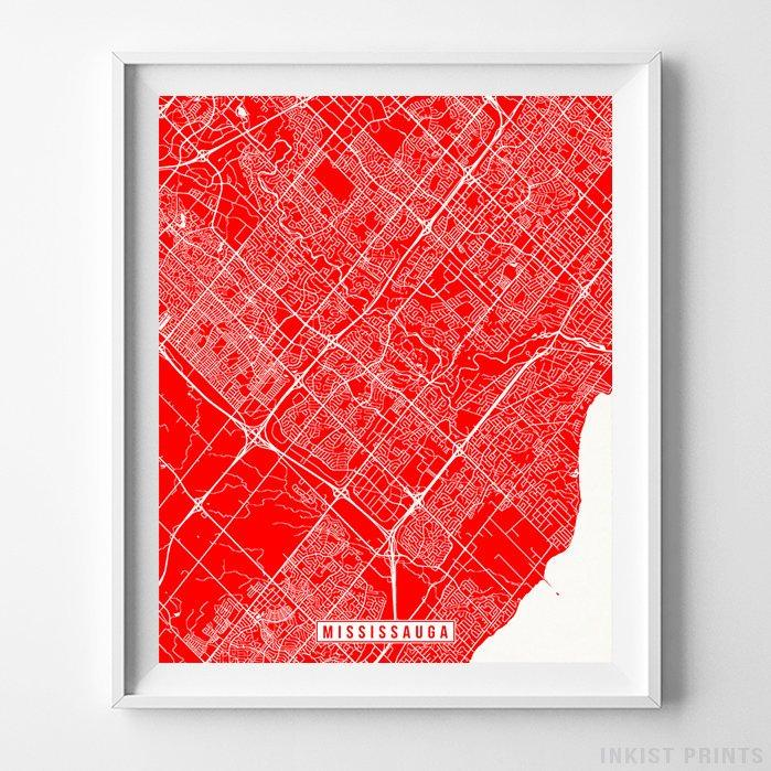 Mississauga, Canada Street Map Vertical Print-Poster-Wall_Art-Home_Decor-Inkist_Prints
