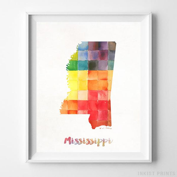 Mississippi Watercolor Map Print Wall Art Poster by Inkist Prints