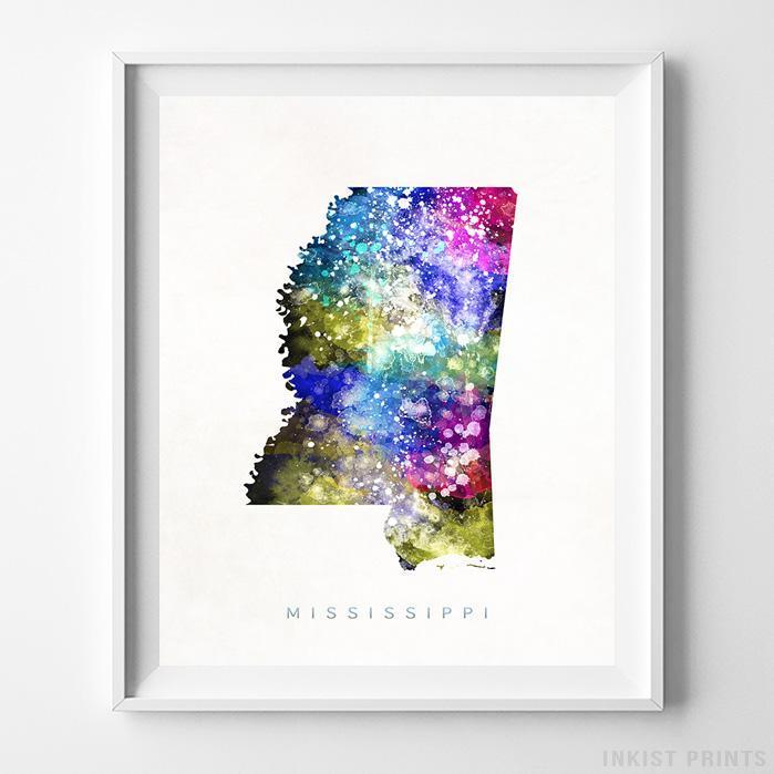 Mississippi Watercolor Map Print - Inkist Prints
