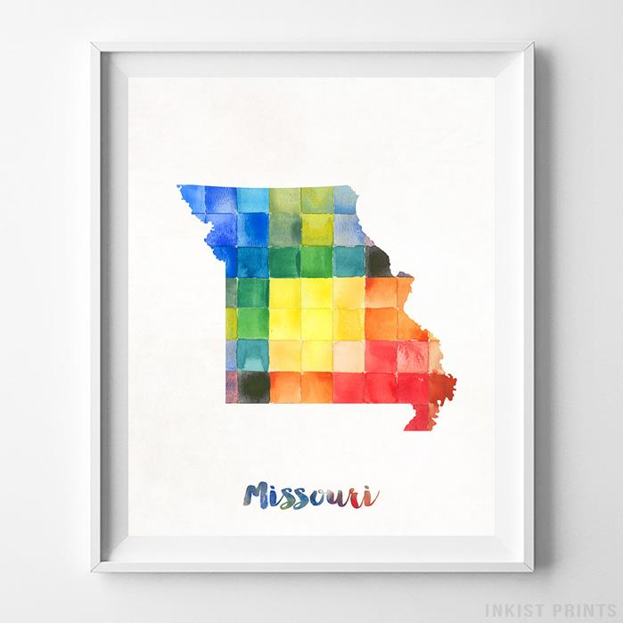 Missouri Watercolor Map Print-Poster-Wall_Art-Home_Decor-Inkist_Prints
