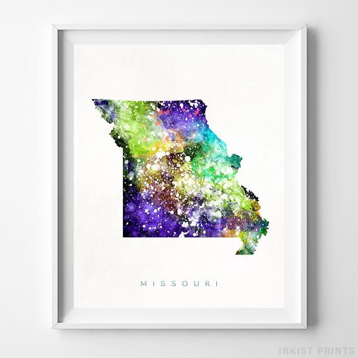 Missouri Watercolor Map Print - Inkist Prints