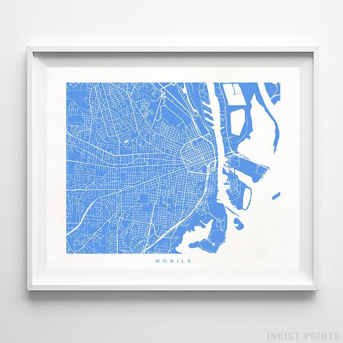 Mobile, Alabama Street Map Print Poster - Inkist Prints