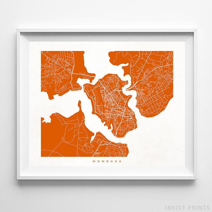 Mombasa, Kenya Street Map Horizontal Print-Poster-Wall_Art-Home_Decor-Inkist_Prints