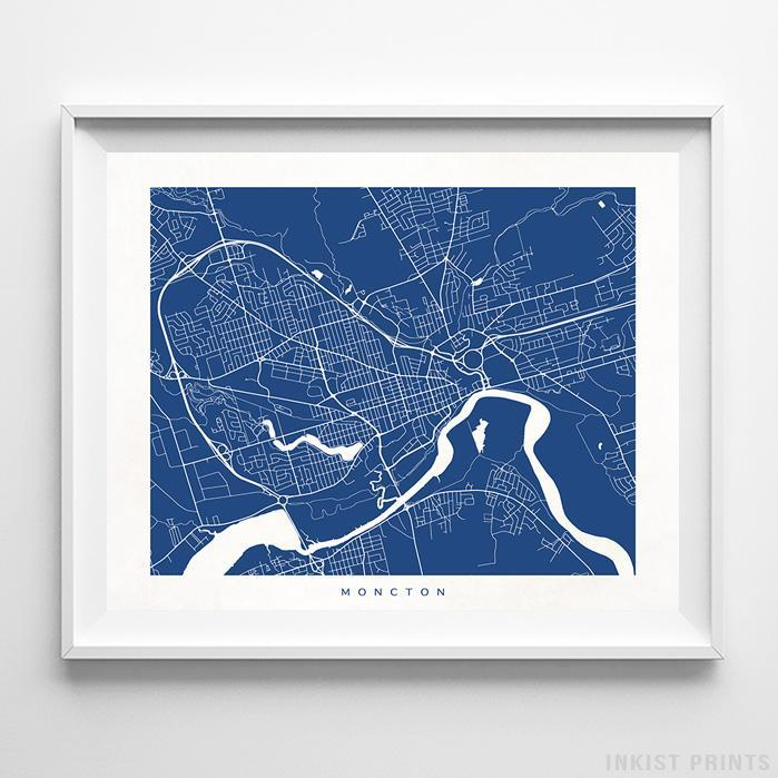 Moncton, Canada Street Map Horizontal Print-Poster-Wall_Art-Home_Decor-Inkist_Prints