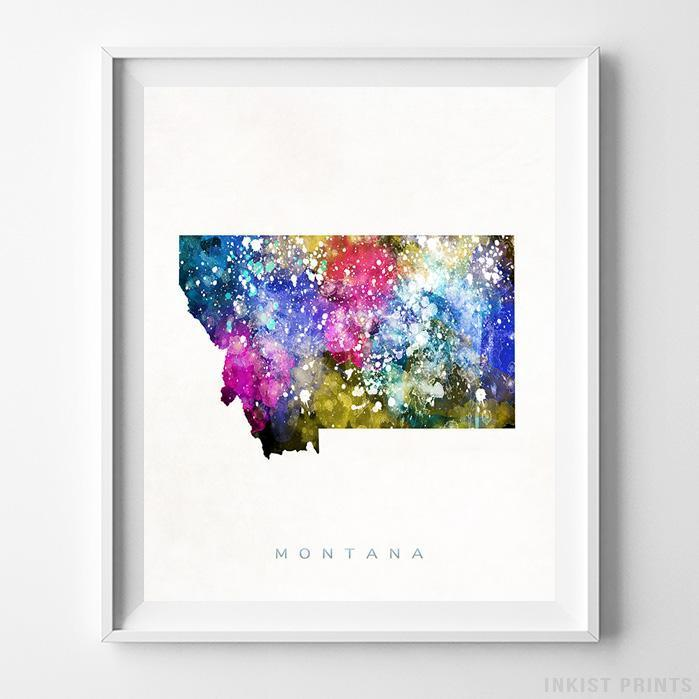 Montana Watercolor Map Print Wall Art Poster by Inkist Prints