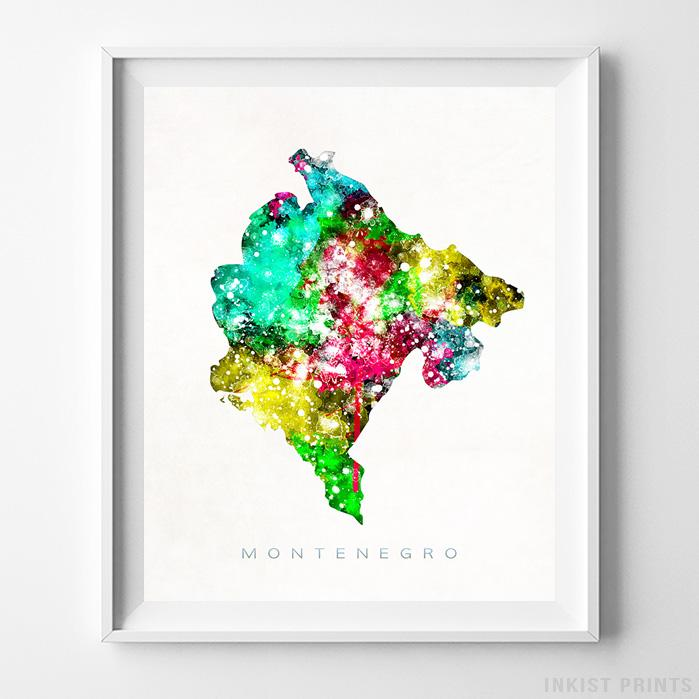 Montenegro Watercolor Map Print - Inkist Prints