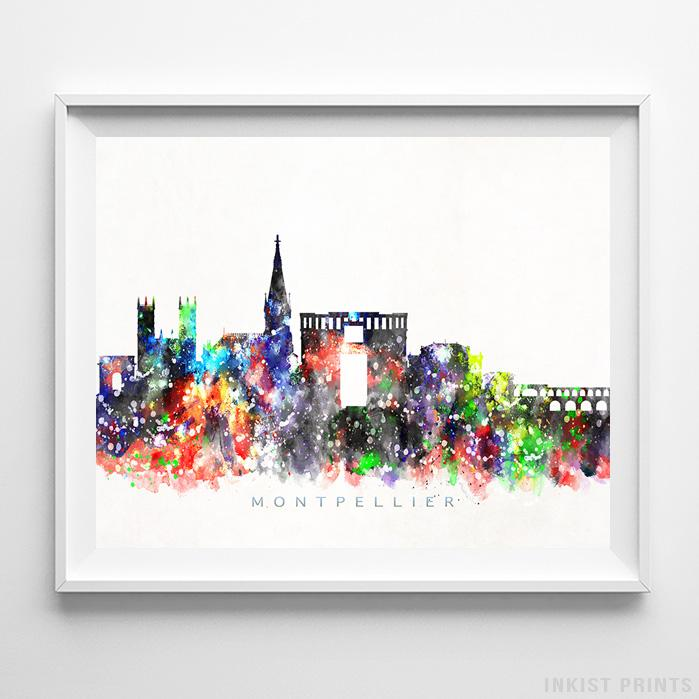 Montpellier, France Skyline Watercolor Print-Poster-Wall_Art-Home_Decor-Inkist_Prints