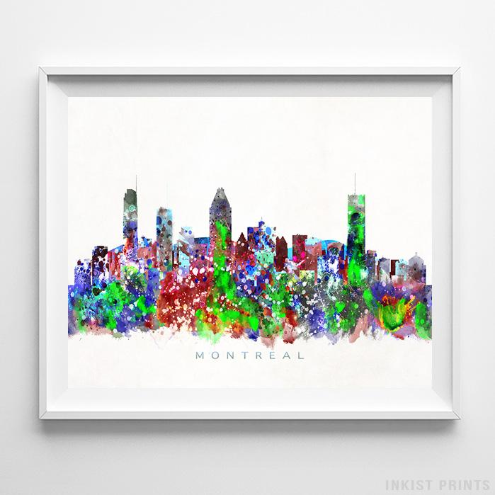 Montreal, Canada Skyline Watercolor Print Wall Art Poster by Inkist Prints