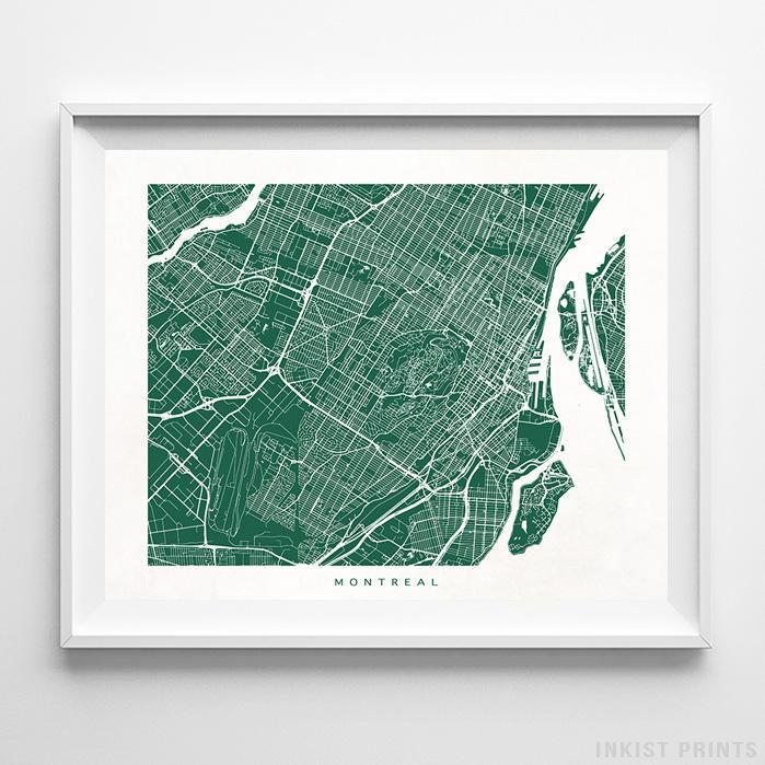 Montreal, Canada Street Map Horizontal Print-Poster-Wall_Art-Home_Decor-Inkist_Prints