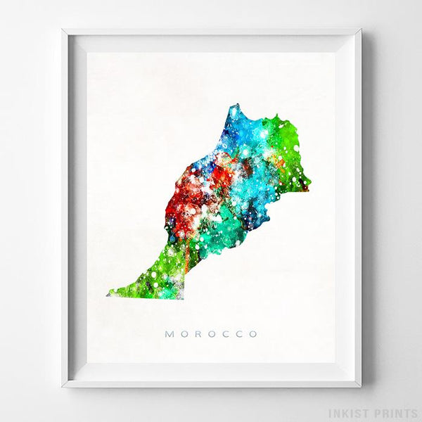 Morocco Watercolor Map Print-Poster-Wall_Art-Home_Decor-Inkist_Prints