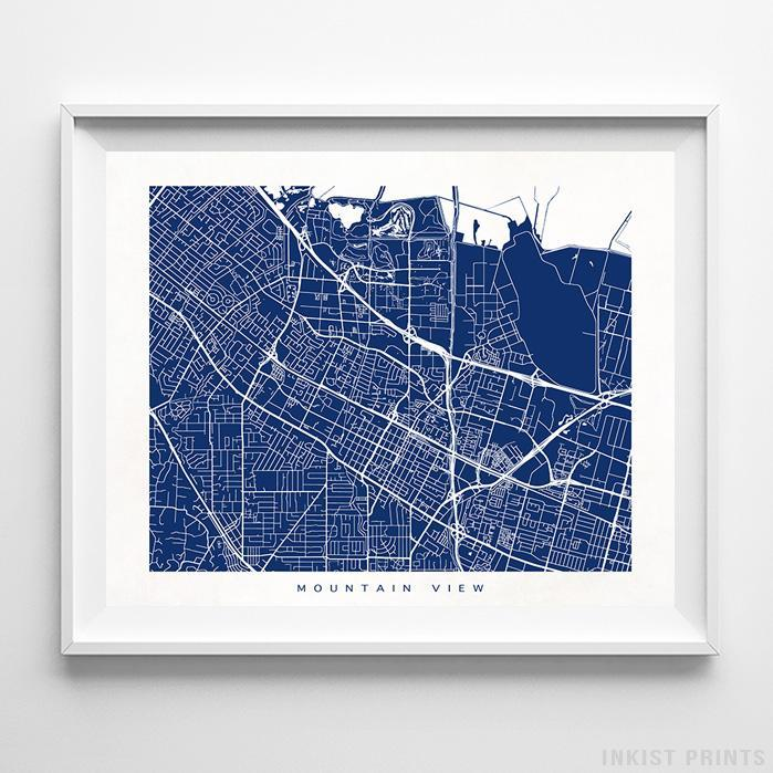Mountain View, California Street Map Print Poster - Inkist Prints