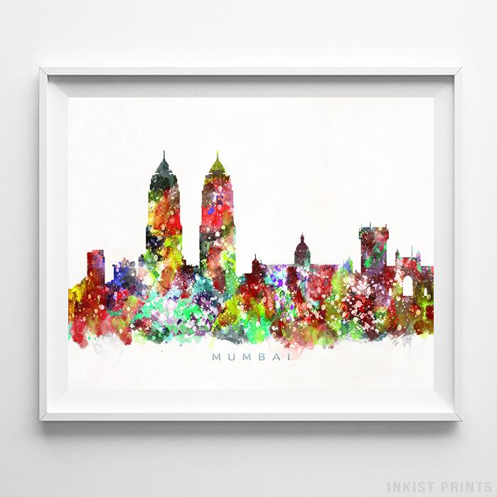 Mumbai, India Skyline Watercolor Print-Poster-Wall_Art-Home_Decor-Inkist_Prints