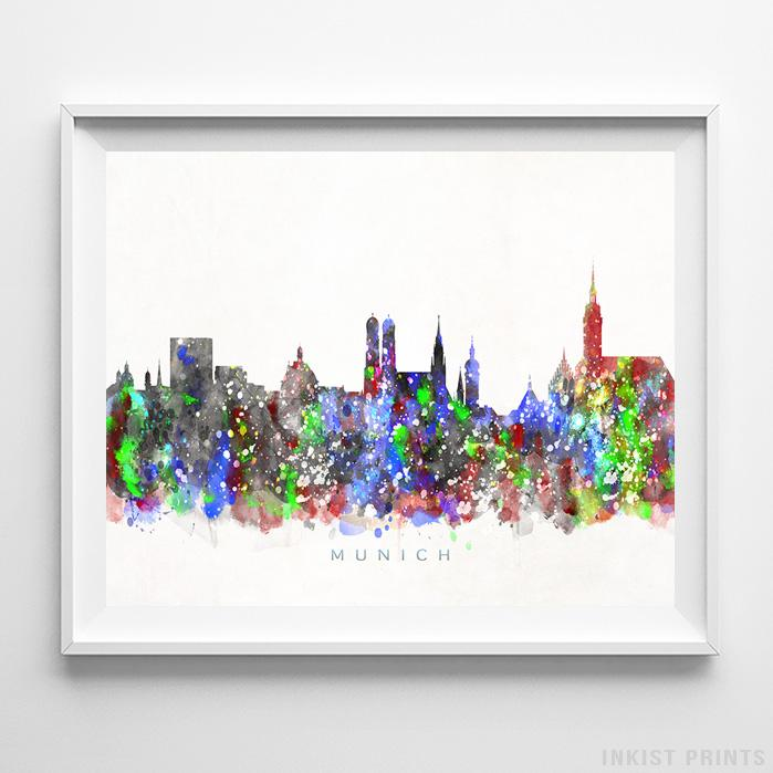 Munich, Germany Skyline Watercolor Print - Inkist Prints