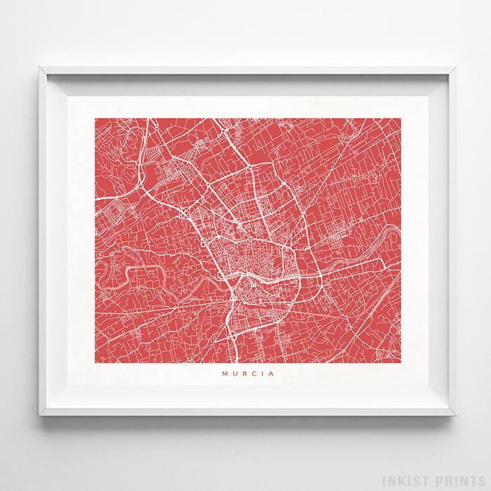 Murcia, Spain Street Map Horizontal Print-Poster-Wall_Art-Home_Decor-Inkist_Prints