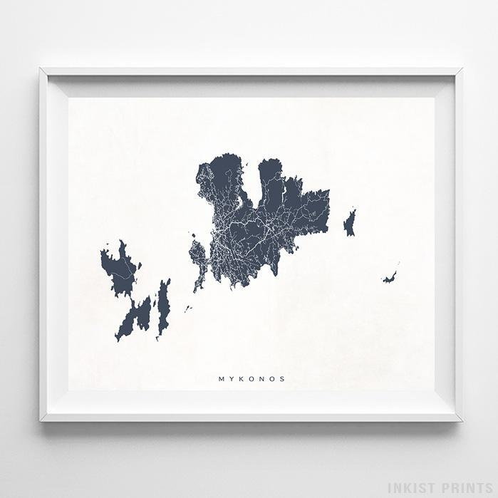 Mykonos, Greece Street Map Horizontal Print-Poster-Wall_Art-Home_Decor-Inkist_Prints