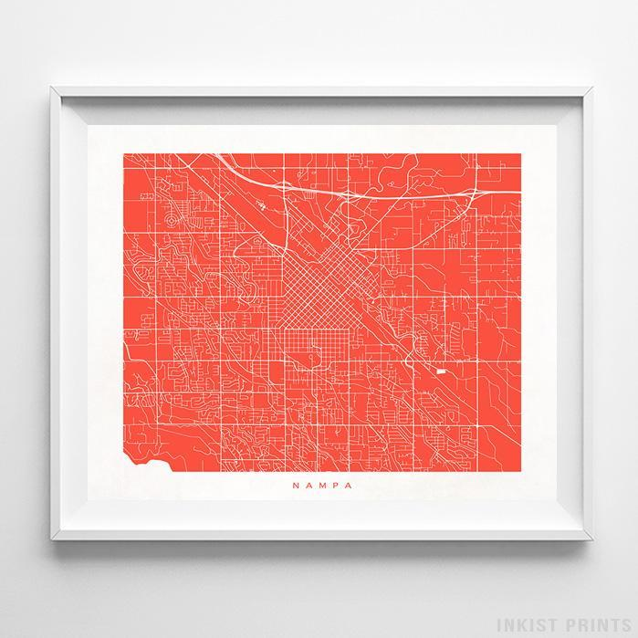 Nampa, Idaho Street Map Horizontal Print-Poster-Wall_Art-Home_Decor-Inkist_Prints