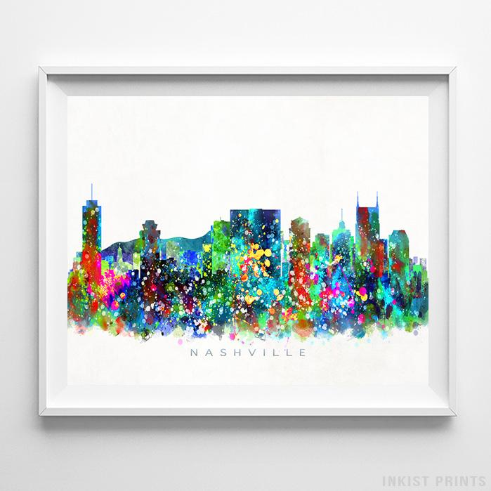 Nashville, Tennessee Skyline Watercolor Print-Poster-Wall_Art-Home_Decor-Inkist_Prints