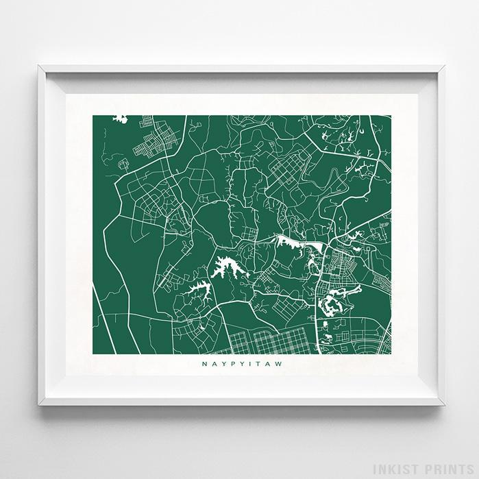Naypyitaw, Myanmar Street Map Horizontal Print-Poster-Wall_Art-Home_Decor-Inkist_Prints