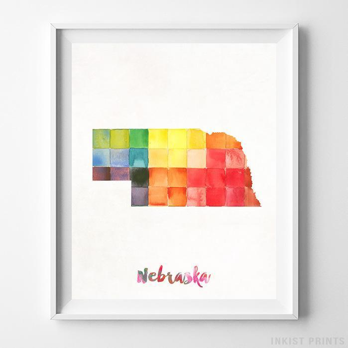 Nebraska Watercolor Map Print - Inkist Prints