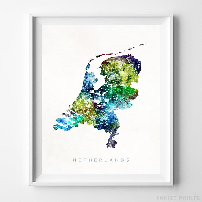 Netherlands Watercolor Map Print - Inkist Prints