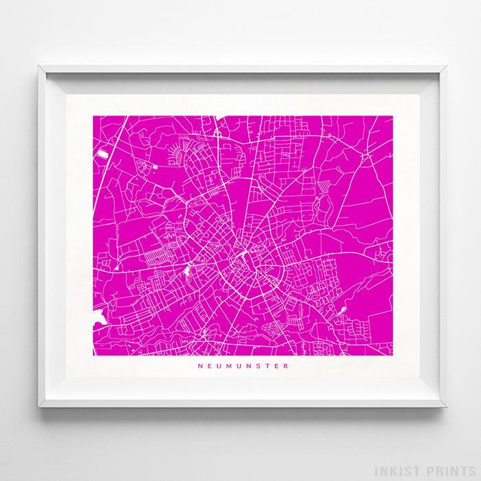 Neumunster, Germany Street Map Horizontal Print-Poster-Wall_Art-Home_Decor-Inkist_Prints