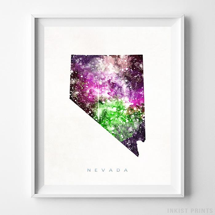 Nevada Watercolor Map Print-Poster-Wall_Art-Home_Decor-Inkist_Prints