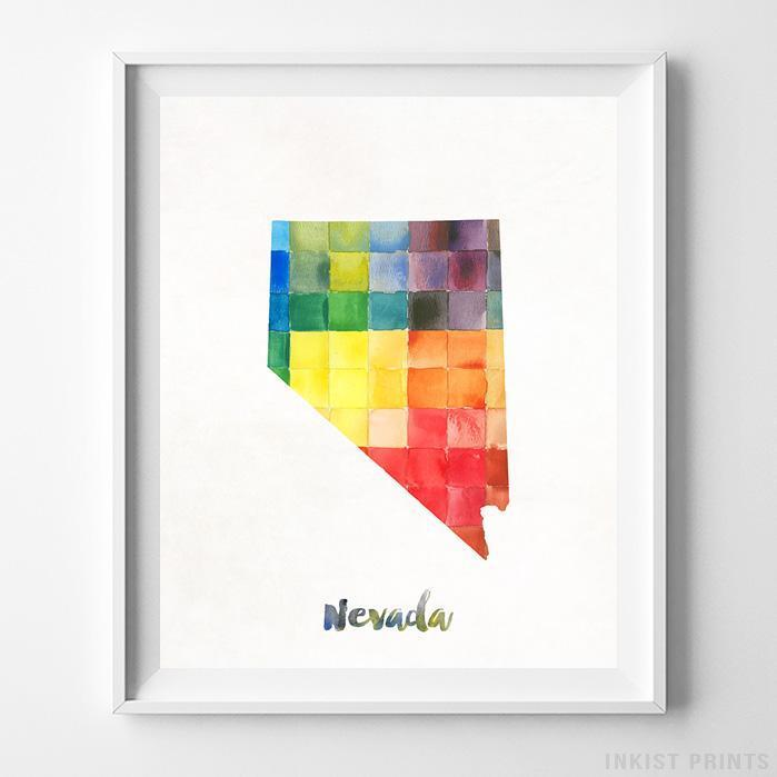 Nevada Watercolor Map Print - Inkist Prints
