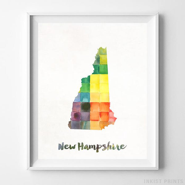 New Hampshire Watercolor Map Print - Inkist Prints