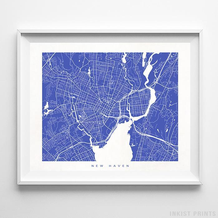 New Haven, Connecticut Street Map Horizontal Print-Poster-Wall_Art-Home_Decor-Inkist_Prints