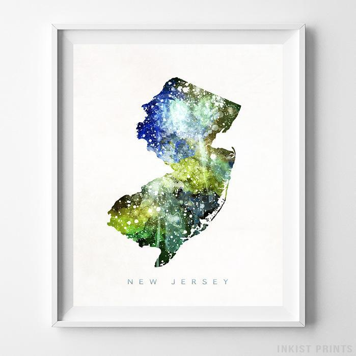 New Jersey Watercolor Map Print - Inkist Prints