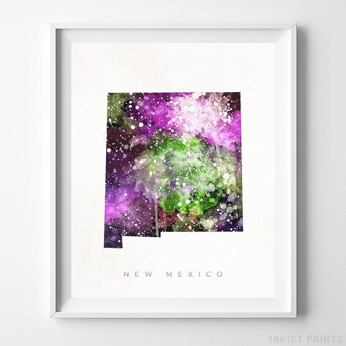 New Mexico Watercolor Map Print - Inkist Prints