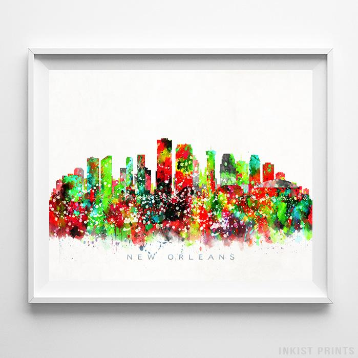 New Orleans, Louisiana Skyline Watercolor Print-Poster-Wall_Art-Home_Decor-Inkist_Prints
