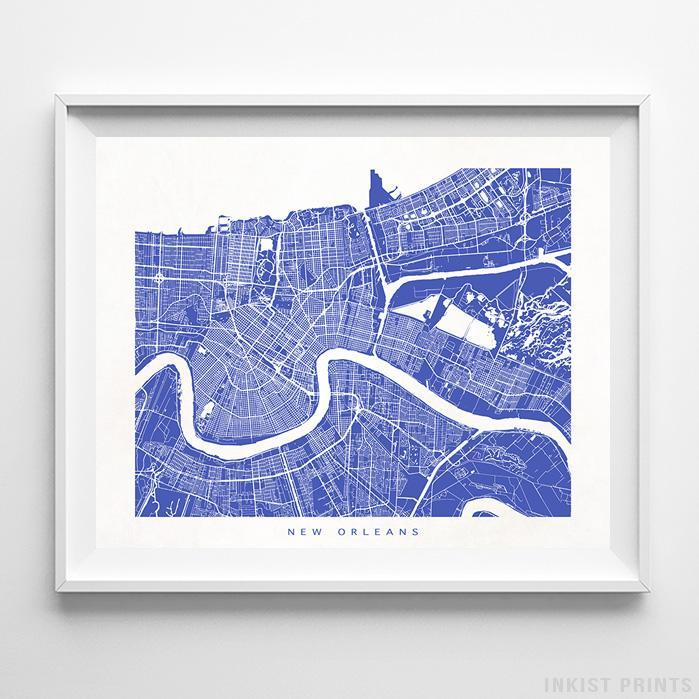New Orleans, Louisiana Street Map Print - Inkist Prints