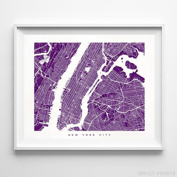 New York City, New York Street Map Horizontal Print-Poster-Wall_Art-Home_Decor-Inkist_Prints