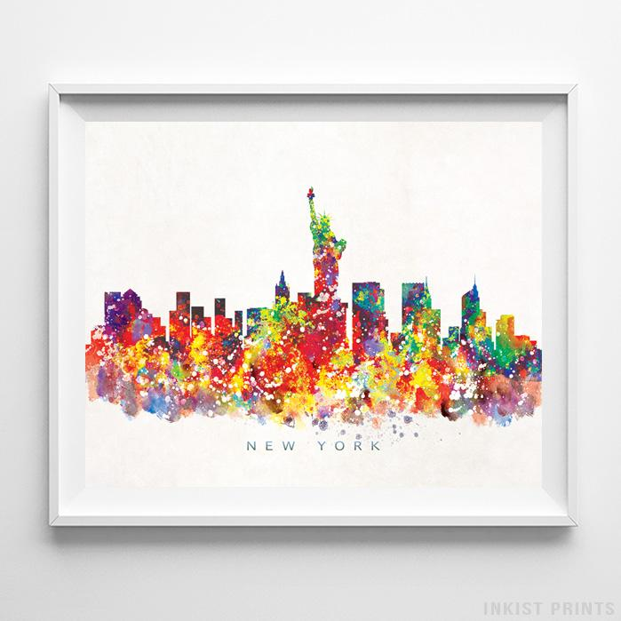 New York, New York Skyline Watercolor Print-Poster-Wall_Art-Home_Decor-Inkist_Prints