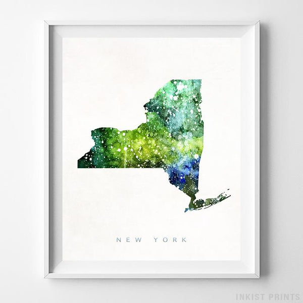 New York Watercolor Map Print-Poster-Wall_Art-Home_Decor-Inkist_Prints