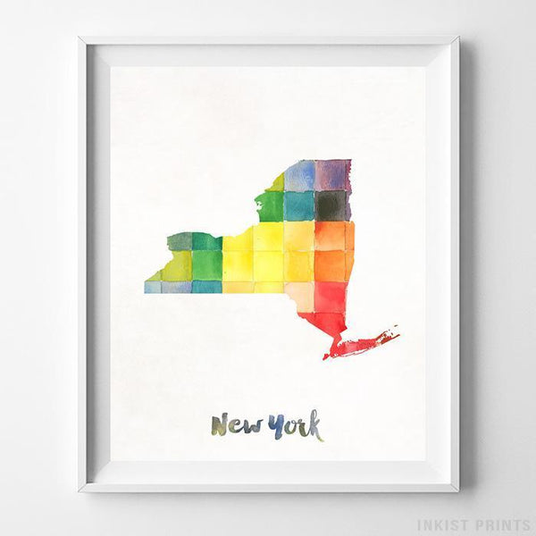 New York Watercolor Map Print - Inkist Prints