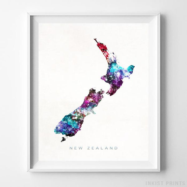New Zealand Watercolor Map Print-Poster-Wall_Art-Home_Decor-Inkist_Prints