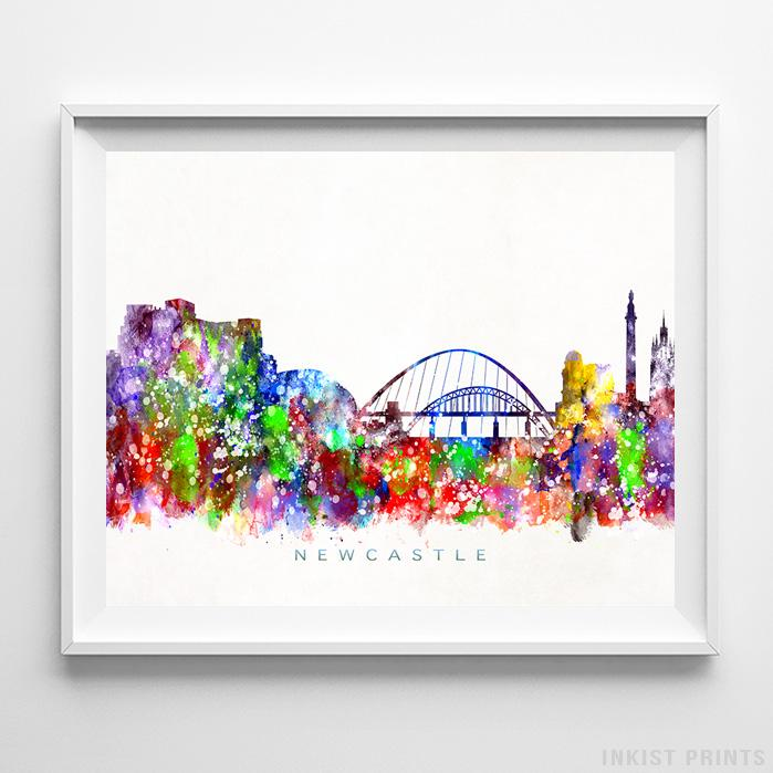 Newcastle, England Skyline Watercolor Print - Inkist Prints