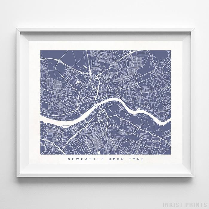 Newcastle Upon Tyne, England Street Map Horizontal Print-Poster-Wall_Art-Home_Decor-Inkist_Prints