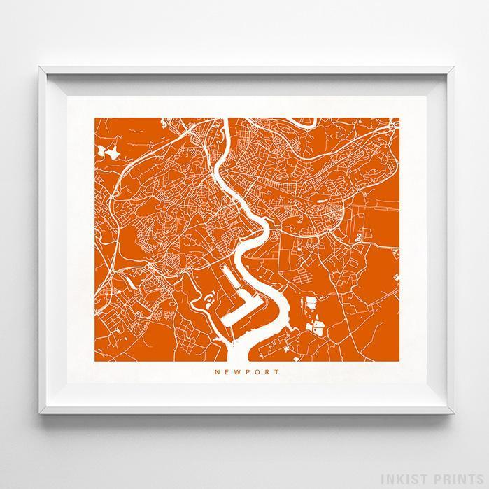 Newport, United Kingdom Street Map Horizontal Print-Poster-Wall_Art-Home_Decor-Inkist_Prints