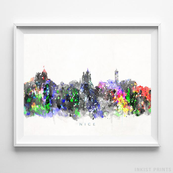 Nice, France Skyline Watercolor Print-Poster-Wall_Art-Home_Decor-Inkist_Prints
