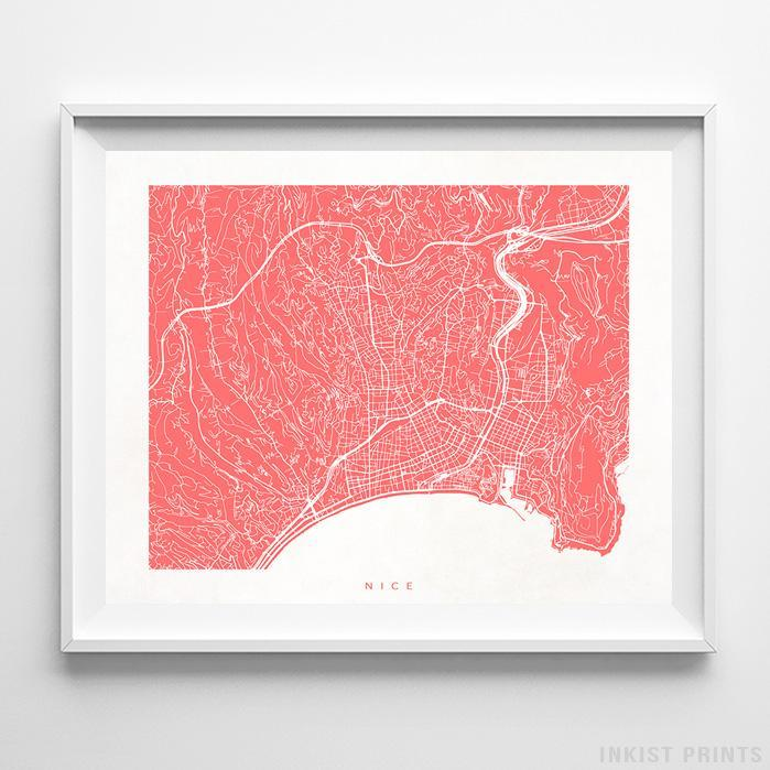 Nice, France Street Map Horizontal Print-Poster-Wall_Art-Home_Decor-Inkist_Prints