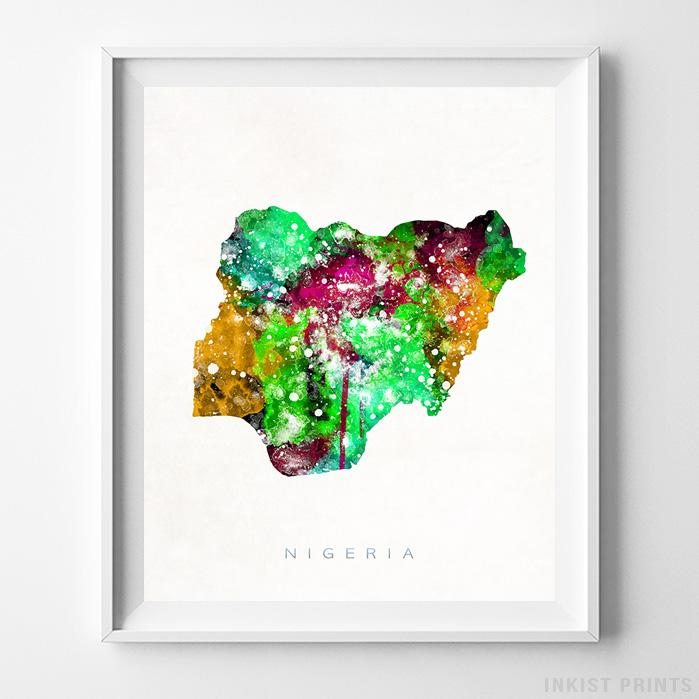 Nigeria Watercolor Map Print-Poster-Wall_Art-Home_Decor-Inkist_Prints