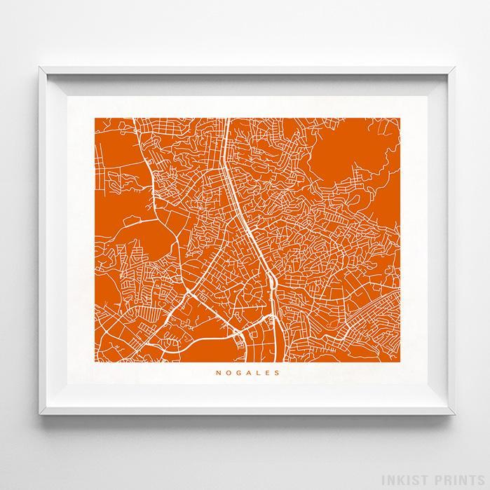 Nogales, Mexico Street Map Horizontal Print-Poster-Wall_Art-Home_Decor-Inkist_Prints